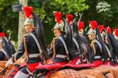 法国共和党人守卫在法国国庆节期间仪式2014年7月14日的在巴黎,冠军 库存照片