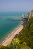 法国北海岸横向, Etretat 库存照片