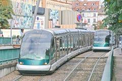 法国史特拉斯堡电车轨道 免版税库存图片