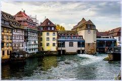 法国史特拉斯堡 在一点法国区渠道的看法  免版税库存照片