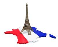 法国和艾菲尔铁塔地图  库存图片