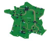 法国在白色背景的地图孤立电路板形状  库存例证