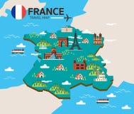 法国地标和旅行地图 库存照片