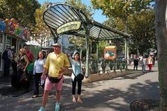 巴黎法国地铁入口 免版税库存图片