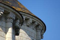 法国城堡的屋顶细节在卢瓦尔河流域 免版税库存图片