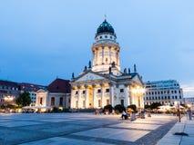 法国大教堂在Gendarmenmarkt,一个著名正方形在柏林 库存照片