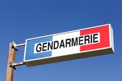 法国宪兵队的标志在杆的 库存图片