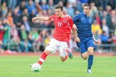 法国对奥地利(U19) 库存照片