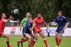 法国对橄榄球的乔治亚7个格兰披治系列在莫斯科 免版税库存照片