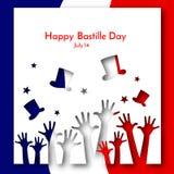 法国小册子横幅布局爱国背景旗子用手和帽子在法国旗子的背景和愉快 库存例证