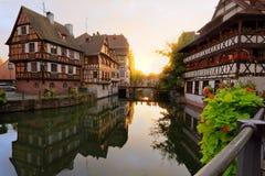 法国小的史特拉斯堡日落 免版税库存图片