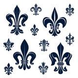 法国尾花纹章学标志和花 免版税图库摄影