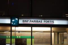 法国巴黎银行富通集团银行分行在布鲁塞尔 免版税库存照片