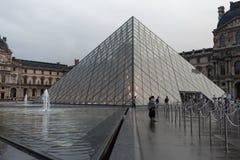 法国巴黎 2018年6月01日:有夏天日落的罗浮宫广场 老新生大厦由太阳和t启迪 库存照片