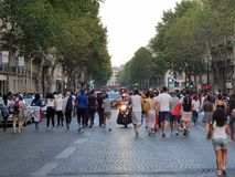 法国庆祝世界杯2018胜利 免版税库存照片