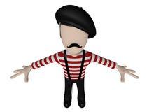 法国式3D漫画人物 向量例证