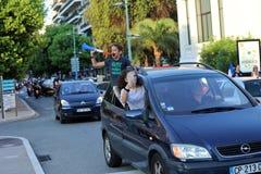 法国支持者在芒通庆祝在赢取世界古芝以后 免版税库存图片
