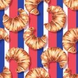 法国新月形面包 水彩无缝的样式1 皇族释放例证