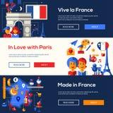 法国旅行横幅设置了与著名法国标志 库存照片