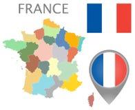 法国旗子、地图尖和地图与管理部门 皇族释放例证