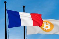 法国旗子和Bitcoin旗子 库存图片