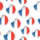 法国旗子贴纸无缝的样式背景 企业concep 免版税库存照片