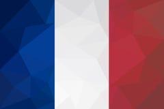 法国旗子-三角多角形样式 免版税库存图片