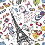 巴黎法国时尚无缝的样式 夏天Womancolored穿戴 免版税库存照片