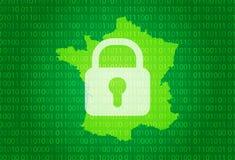 法国映射 例证有锁和二进制编码背景 阻拦的互联网,病毒攻击,保密性保护 皇族释放例证