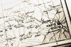 法国映射巴黎 免版税库存图片