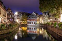 法国晚上小的史特拉斯堡 库存照片