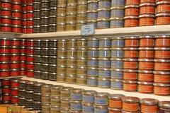 法国橄榄凤尾鱼汤瓶子 免版税库存照片
