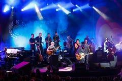 法国歌手Zaz音乐会爵士节的 库存照片