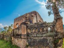 法国殖民地废墟 Muang Khoun,老挝 免版税库存照片