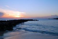 法国海岸在晚上 库存图片