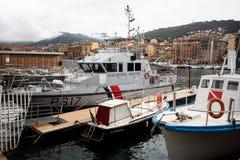 法国海岸警备队船坞的船尼斯旧港口的  图库摄影