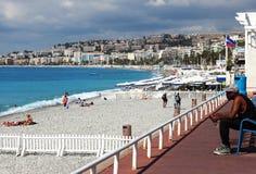 法国海滨和散步des Anglais,尼斯 库存图片