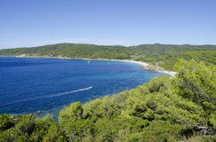 法国海滨海滩,在向圣特罗佩附近 库存图片