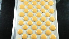 法国点心,做macaron蛋白杏仁饼干的过程,紧压烹调袋子的面团形式 库存图片