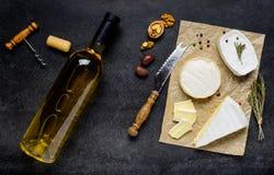 法国烹调食物用酒和乳酪 免版税库存照片