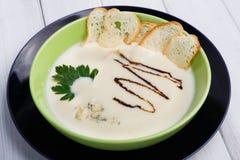 法国烹调餐馆食物 热的盘,乳脂状的蘑菇汤 免版税库存图片