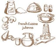 法国烹调,菜丝汤,成份 库存照片