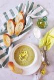 法国烹调:potage Choisy 莴苣奶油色汤用米 免版税库存照片
