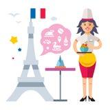 法国烹调 妇女厨师 平的样式五颜六色的传染媒介动画片例证 向量例证