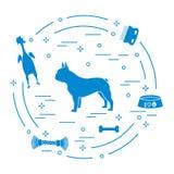 法国牛头犬,碗,骨头,刷子,梳子,玩具剪影  皇族释放例证