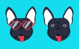 法国牛头犬狗头狗面孔例证 美丽的法国牛头犬小狗黑色小鹿狗看玻璃 向量例证