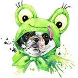 法国牛头犬狗T恤杉图表 与飞溅水彩的法国牛头犬例证构造了背景 异常的illustratio 向量例证