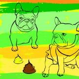 法国牛头犬背景 也corel凹道例证向量 狗,例证 免版税图库摄影