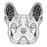 法国牛头犬被传统化的头zentangle 免版税库存照片
