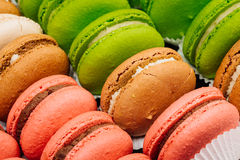 法国甜纤巧,五颜六色的蛋白杏仁饼干品种特写镜头 免版税库存图片